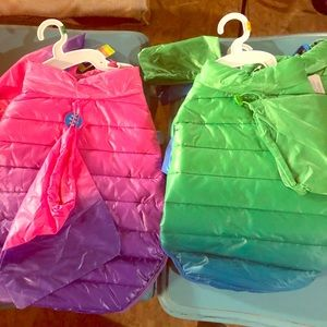 Ombré dog puffer foldable jackets with storage bag
